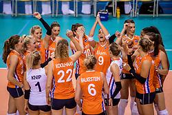 26-05-2017 NED: Nederland - Italie, Apeldoorn<br /> Kick off voor het Nederlands vrouwenteam begon met een oefenwedstrijd in Apeldoorn. Italië werd met 3-1 verslagen / Vreugde bij Nederland
