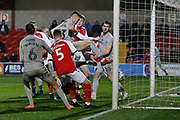Goal scored by James Bolton of Portsmouth, 0-1, during the The FA Cup match between Fleetwood Town and Portsmouth at the Highbury Stadium, Fleetwood, England on 4 January 2020.