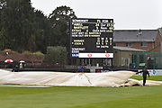 Rain Stops Play - Ground staff bringing on more covers as the heavy rain continues to fall during the Specsavers County Champ Div 1 match between Somerset County Cricket Club and Essex County Cricket Club at the Cooper Associates County Ground, Taunton, United Kingdom on 23 September 2019.