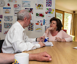 Elaine C Smith was on hand today to cut the ribbon on the Alcohol Related Brain Damage Unit run by voluntary organisation Penumbra in partnership with NHS Lothian and City of Edinburgh Council.  Ms Smith met ex-resident Joe Boyle during her tour. Edinburgh 23 April 2015  Ger Harley, StockPix.eu