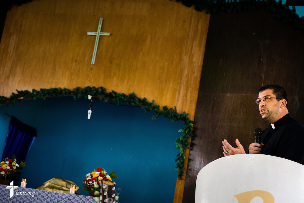 The Rev. Ross Johnson, director of LCMS Disaster Response, delivers his sermon during worship at Christ Lutheran Church in Mahayag, Leyte Province, Philippines, on Sunday, March 16, 2014. LCMS Communications/Erik M. Lunsford