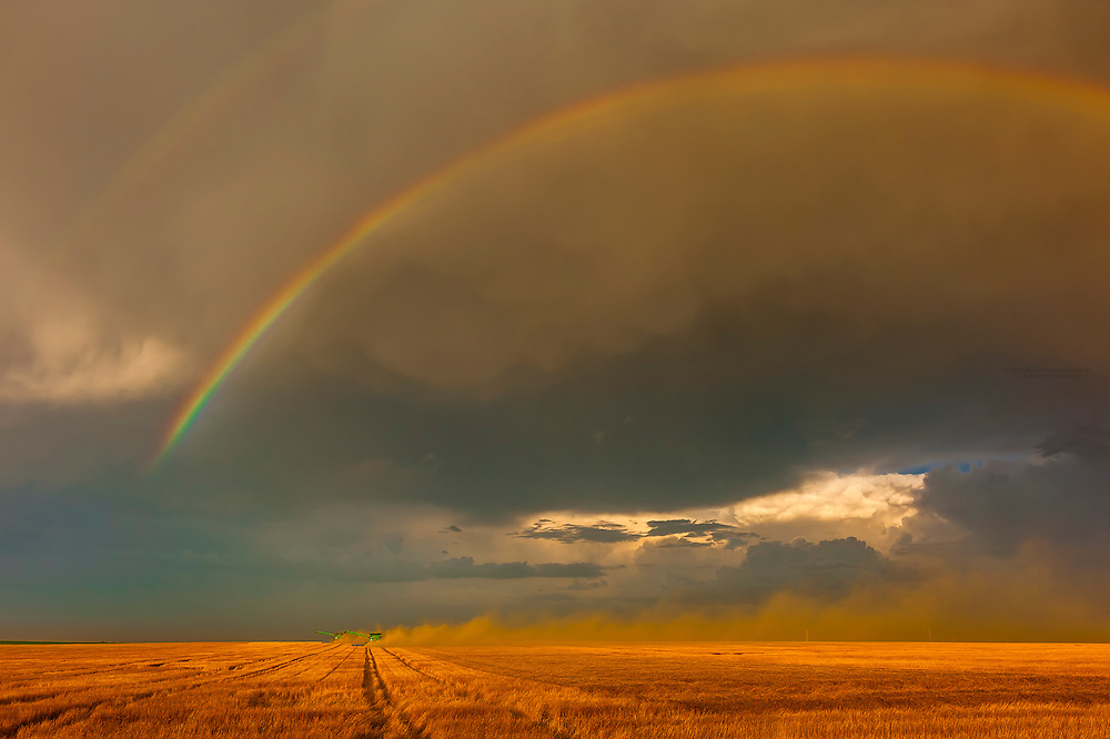 Combine harvestors during the wheat harvest with a rainbow above, Schields & Sons Farming, Goodland, Kansas USA.