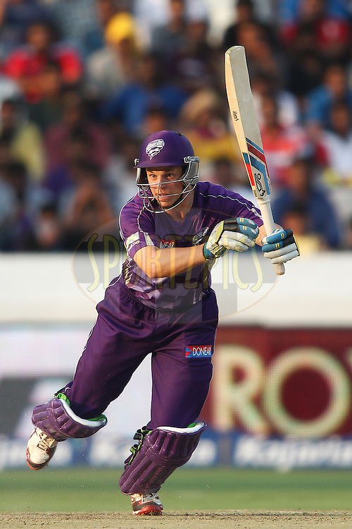 Evan Gulbis of the Hobart Hurricanes sets off for a run during the first semi final match of the Oppo Champions League Twenty20 between the Kolkata Knight Riders and the Hobart Hurricanes held at the Rajiv Gandhi Cricket Stadium, Hyderabad, India on the 2nd October 2014<br /> <br /> Photo by:  Shaun Roy / Sportzpics/ CLT20<br /> <br /> <br /> Image use is subject to the terms and conditions as laid out by the BCCI/ CLT20.  The terms and conditions can be downloaded here:<br /> <br /> http://sportzpics.photoshelter.com/gallery/CLT20-Image-Terms-and-Conditions-2014/G0000IfNJn535VPU/C0000QhhKadWcjYs