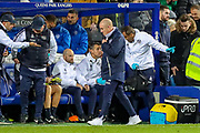 Queens Park Rangers Manager Mark Warburton heads to the dressing room at half time during the EFL Sky Bet Championship match between Queens Park Rangers and Brentford at the Kiyan Prince Foundation Stadium, London, England on 28 October 2019.