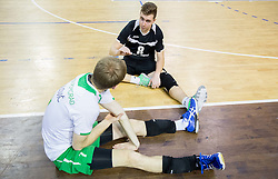 Ivan Colovic of Panvita Pomgrad and Tin Vrabl of Panvita Pomgrad after winning during volleyball game between OK ACH Volley and OK Panvita Pomgrad in 1st final match of Slovenian National Championship 2013/14, on April 6, 2014 in Arena Tivoli, Ljubljana, Slovenia. Photo by Vid Ponikvar / Sportida