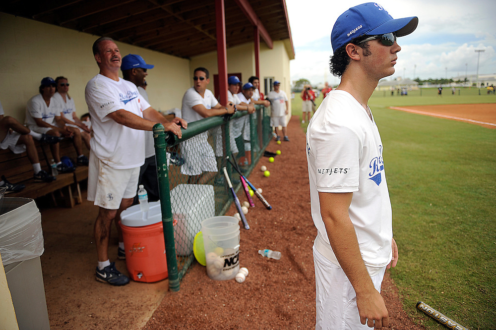 "AUGUST 19, 2009 BOCA RATON FLORIDA- Kevin Jonas, of the Jonas Brothers, watches his team during their softball game against the Marquis Flyers. The Jonas Brothers and their team, the ""Road Dogs"" took part in the softball game which was being held by Marquis Jet at the Saint Andrews School in Boca Raton, Fla. Marquis Jet has held 9 other softball games around the country as their company team the ""Marquis Flyers"" competes in for fun games against various teams. PHOTO BY JOSH RITCHIE"