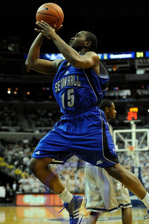 02 February 2008:   Seton Hall Pirates guard Eugene Harvey (15) scores 2 of his 13 points in the  1st half against the Georgetown University Hoyas at the Verizon Center in Washington, D.C.  The Hoyas defeated the Seton Hall Pirates 73-61.