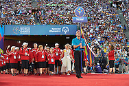 Katarzyna Frank Niemczycka with Polish Team Special Olympics during opening ceremony of the Special Olympics World Games Los Angeles 2015 at the Los Angeles Coliseum Stadium on July 25, 2015 in Los Angeles, USA.<br /> USA, Los Angeles, July 25, 2015<br /> <br /> Picture also available in RAW (NEF) or TIFF format on special request.<br /> <br /> For editorial use only. Any commercial or promotional use requires permission.<br /> <br /> Adam Nurkiewicz declares that he has no rights to the image of people at the photographs of his authorship.<br /> <br /> Mandatory credit:<br /> Photo by © Adam Nurkiewicz / Mediasport