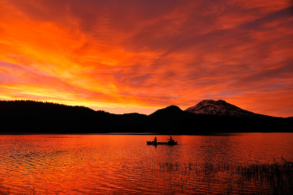 Canoeing, Sparks Lake,Central Oregon,USA