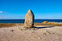 France, Loire-Atlantique (44), Le Croisic, menhir au bord de la mer // France, Loire-Atlantique, Le Croisic
