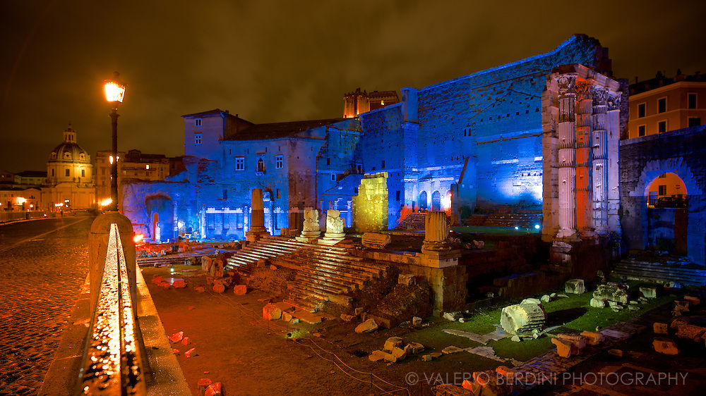 The Forum of Augustus is one of the Imperial forums of Rome, Italy, built by Augustus. During Christmas 2013 and New Year Celebrations the area has been lighten up and improved by the newly elected major of Rome: Ignazio Marino.