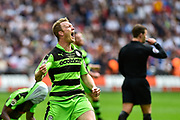 Forest Green Rovers Mark Ellis(5) celebrates promotion to the football league at full time during the Vanarama National League Play Off Final match between Tranmere Rovers and Forest Green Rovers at Wembley Stadium, London, England on 14 May 2017. Photo by Adam Rivers.