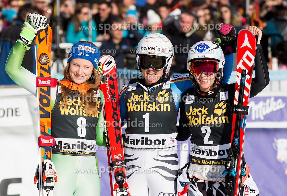 Second placed Ana Drev (SLO), winner Viktoria Rebensburg (GER) and third placed Tina Weirather (LIE) celebrate after the 7th Ladies' Giant slalom at 52nd Golden Fox - Maribor of Audi FIS Ski World Cup 2015/16, on January 30, 2016 in Pohorje, Maribor, Slovenia. Photo by Vid Ponikvar / Sportida