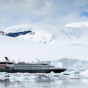 A large luxury French cruise ship, the L'Austral, glides through brash ice and past small icebergs next to ice cliffs on the Antarctic Peninsula.