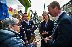 Pictured: Tim Farron, Alex Cole-Hamilton and Hal Osler, candidate for the Stockbridge ward, meet some local residents<br /> Liberal Democrat leader Tim Farron MP visited Edinburgh today and joined local MSP Alex Cole-Hamilton and council candidates to campaign in the upcoming council election in StockbridgeGer Harley | EEm 13 April 2017