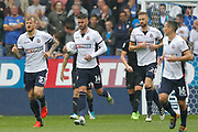Bolton Wanderers Gary Madine (14) gets the ball back to the centre spot for a quick restart after scoring to make the score 1-2 during the EFL Sky Bet Championship match between Bolton Wanderers and Leeds United at the Macron Stadium, Bolton, England on 6 August 2017. Photo by Craig Galloway.