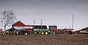 Farm equipment sits lined up for an auction at the end of the month in rural Cumberland County, NJ.