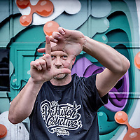 Nederland, Amsterdam, 23 mei 2016.<br /> Graffiti kunstenaar David Louf, owner/designer at Out of Order. <br /> <br /> Out of Order (David Louf and Yves van Asten), founded in 2000, is an Amsterdam/Rotterdam based Graphic design Studio with multi disciplinary skills ranging from graphic design, art, video, interactive productions and illustration.<br /> <br /> <br /> Foto: Jean-Pierre Jans