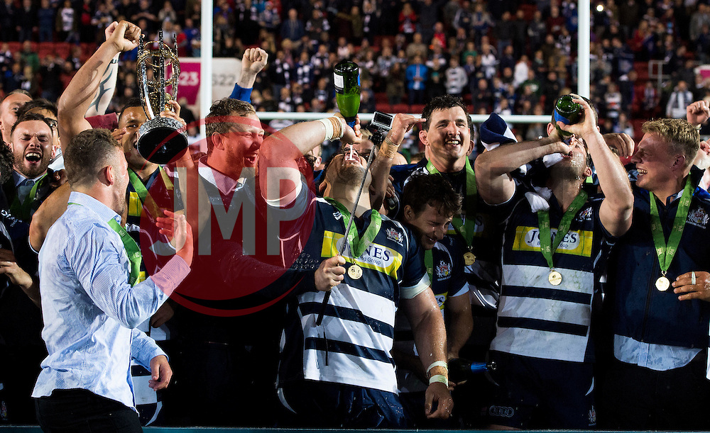 Bristol Rugby players celebrate  promotion from the Greene King IPA championship to the Aviva Premiership - Mandatory byline: Joe Meredith/JMP - 25/05/2016 - RUGBY UNION - Ashton Gate Stadium - Bristol, England - Bristol Rugby v Doncaster Knights - Greene King IPA Championship Play Off FINAL 2nd Leg.