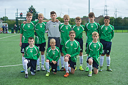 NEWPORT, WALES - Wednesday, August 3, 2016: Central Development Boys' Jack Walter, goalkeeper Alex Clarke, Fraser Thomas, Dafydd Roberts, Callum Kin-Harmes, Ethan Rees, Ben Fisher, Morgan Clarke, Louis Davies, Harvey Edwards, Roan Huggins during the Welsh Football Trust Cymru Cup 2016 at Newport Stadium.  (Pic by Ian Cook/Propaganda)