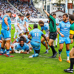 of Mathew LUAMANU of Bayonne score his try during the Top 14 match between Bayonne and Montpellier on October 12, 2019 in Bayonne, France. (Photo by JF Sanchez/Icon Sport) - Mathew LUAMANU - Stade Jean Dauger - Bayonne (France)