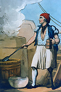 The Ship's Cook', tankard of beer in hand,  at work in his galley. He has lost a leg, probably in a naval battle, and has been fitted with a wooden artificial 'peg' leg. Artist: Thomas Rowlandson (1756-1827). Aquatint, 1799.