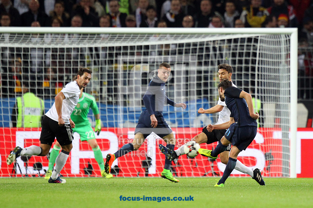 Adam Lallana of England has a shot on goal during the International Friendly match at Signal Iduna Park, Dortmund<br /> Picture by Paul Chesterton/Focus Images Ltd +44 7904 640267<br /> 22/03/2017