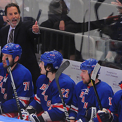 May 23, 2012: New York Rangers head coach John Tortorella instructs his goalie to come out of the net for the extra skater during third period action in game 5 of the NHL Eastern Conference Finals between the New Jersey Devils and New York Rangers at Madison Square Garden in New York, N.Y.