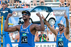 Marcion Araujo and Ricardo Costa Santos of Brazil celebrating victory at A1 Beach Volleyball Grand Slam tournament of Swatch FIVB World Tour 2010, on July 31, 2010 in Klagenfurt, Austria. (Photo by Matic Klansek Velej / Sportida)