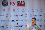BEIJING, CHINA - AUGUST 01: (CHINA OUT) <br /> <br /> Paris Saint-Germain Press Conference In Beijing<br /> <br /> Zlatan Ibrahimovic of Paris Saint-Germain attends a press conference ahead of the French Super Cup football match against Guingamp at the Workers Stadium on August 1, 2014 in Beijing, China. <br /> ©Exclusivepix