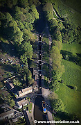 aerial photograph of Bingley Five Rise Locks on the Leeds and Liverpool Canal. Built in  1774 the Staircaselock  is the steepest flight of locks in the UK.