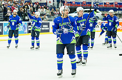 Bostjan Golicic of Slovenia, Ziga Jeglic of Slovenia after the Ice Hockey match between Slovenia and USA at Day 10 in Group B of 2015 IIHF World Championship, on May 10, 2015 in CEZ Arena, Ostrava, Czech Republic. Photo by Vid Ponikvar / Sportida