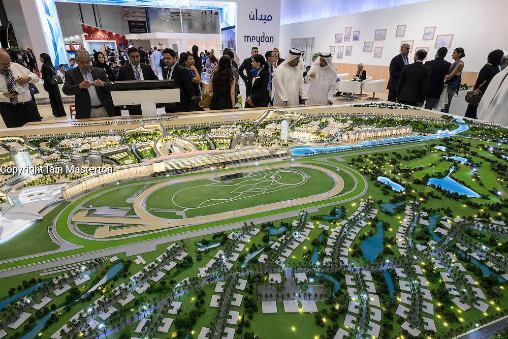 Model of new luxury housing estate at Meydan Avenue by developer Meydan Group at property trade fair in Dubai United Arab Emirates