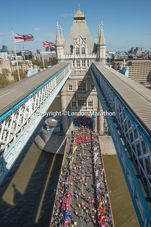 Tower Bridge during  The Virgin Money London Marathon 2014. Sunday 13 April 2014<br /> <br /> Photo: Bob Martin/Virgin Money London Marathon<br /> <br /> media@london-marathon.co.ukTower Bridge during  The Virgin Money London Marathon 2014. Sunday 13 April 2014<br /> <br /> Photo: Bob Martin/Virgin Money London Marathon<br /> <br /> media@london-marathon.co.uk