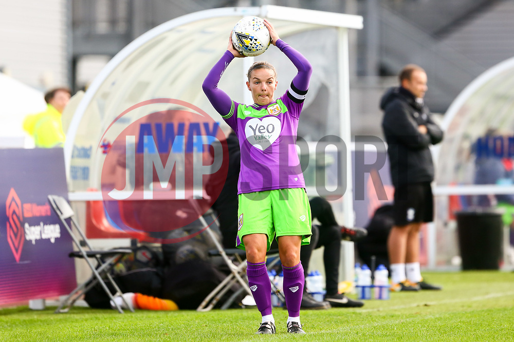 Loren Dykes of Bristol City takes a throw in - Mandatory by-line: Ryan Hiscott/JMP - 14/10/2018 - FOOTBALL - Stoke Gifford Stadium - Bristol, England - Bristol City Women v Birmingham City Women - FA Women's Super League 1