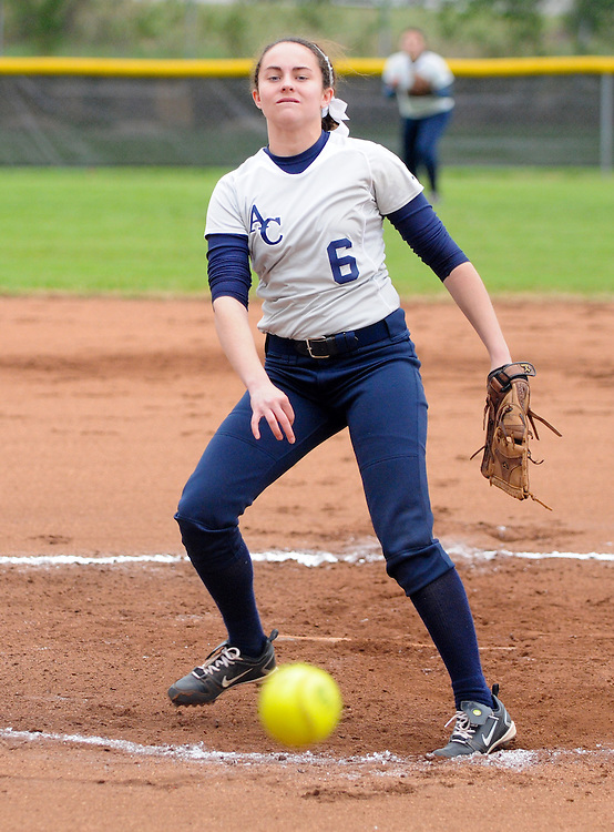 March 26, 2011: Anderson County's Ali Ridenour throws a pitch during the AC Invitational Softball Tournament championship game against Sweetwater. Sweetwater won 2 to 1.