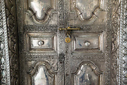Detail of silver door to the inner shrine at Nagoor Dargah.
