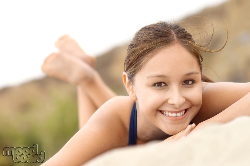 Smiling Woman on Beach
