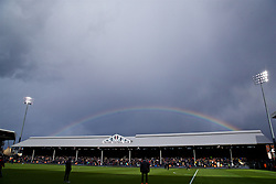 LONDON, ENGLAND - Sunday, March 17, 2019: A rainbow appears over Cavent Cottage during the FA Premier League match between Fulham FC and Liverpool FC at Craven Cottage. (Pic by David Rawcliffe/Propaganda)