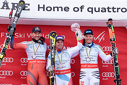 14.03.2018, Aare, SWE, FIS Weltcup Ski Alpin, Finale, Aare, Abfahrt Weltcup, Siegerehrung, im Bild v.l. Aksel Lund Svindal (NOR, 2. Platz Abfahrt Weltcup), Beat Feuz (SUI, Abfahrt Weltcup Sieger und 3. Platz Abfahrt), Thomas Dressen (GER, 3. Platz Abfahrt Weltcup) // f.l. downhill world cup second placed Aksel Lund Svindal of Norway Downhill World Cup winner and third placed for the Downhill Beat Feuz of Switzerland downhill world cup third placed Thomas Dressen of Germany during the winner Ceremony for the downhill Worlcup of FIS Ski Alpine World Cup finals in Aare, Sweden on 2018/03/14. EXPA Pictures © 2018, PhotoCredit: EXPA/ Johann Groder