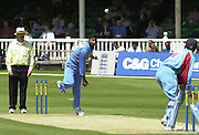 .24/06/2002.Sport - Cricket - .One day game 50 overs - Kent CC vs India.St Lawrence Ground - Canterbury.Harbhajan Singh bowls to Geraint Jones