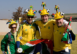 JOHANNESBURG, SOUTH AFRICA - Friday, June 11, 2010: South Africa supporters arrive before the opening Group A match between South Africa and Mexico during the 2010 FIFA World Cup South Africa at the Soccer City Stadium. (Pic by Hoch Zwei/Propaganda)