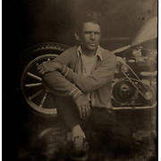 Tintype portrait of custom bike builder Brandon Casquilho | Garage Magazine