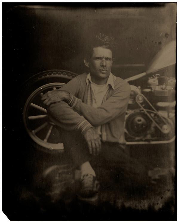 Tintype portrait of custom bike builder Brandon Casquilho | Garage Magazine