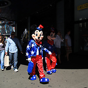 Entertainers dressed as Mickey and Minnie Mouse in Time Square, New York. Times Squares' costumed entrepreneurs are officially free to ply their trade without fear of retribution.  The entertainers are allowed to receive tips, but not charge for pictures taken with them in costume. Times Square is the major commercial intersection in Midtown Manhattan. Time Square, New York, USA. 27th April 2012. Photo Tim Clayton