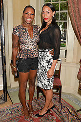 Left to right, singer SONIQUE and athlete JADE JOHNSON at The House of Britannia reception hosted by Lady Delves Broughton at 42 Berkeley Square, London on 26th June 2014.