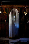 Altar curtain in the 10th century Byzantine chapel of Agios Stefanos, Drakona, Crete, Greece