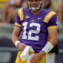 19 September 2009: LSU Tigers quarterback Jarrett Lee (12) during warm ups before a 31-3 win by the LSU Tigers over the University of Louisiana-Lafayette Ragin Cajuns at Tiger Stadium in Baton Rouge, Louisiana.