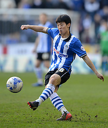 Wigan Athletic's Bo-Kyung Kim in action - Photo mandatory by-line: Richard Martin-Roberts/JMP - Mobile: 07966 386802 - 07/03/2015 - SPORT - Football - Wigan - DW Stadium - Wigan Athletic v Leeds United - Sky Bet Championship
