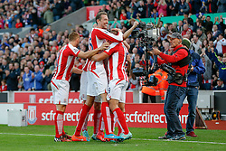 Jonathan Walters of Stoke City celebrates with Peter Crouch after scoring a goal to make it 2-1 - Photo mandatory by-line: Rogan Thomson/JMP - 07966 386802 - 19/10/2014 - SPORT - FOOTBALL - Stoke-on-Trent, England - Britannia Stadium - Stoke City v Swansea City - Barclays Premier League.